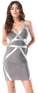 bebe Bodycon Bandage Bandage Foil Trim Dress