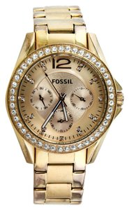 Fossil Fossil Gold Tone ES 2811 Crystal Bezel Watch