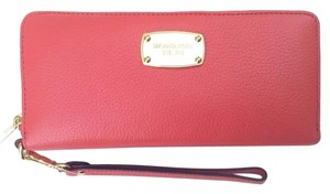 Michael Kors Michael Kors Jet Set Travel Continental Zip Around Leather Wallet Watermelon