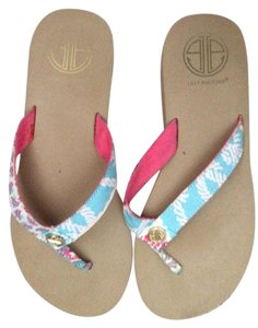 Lilly Pulitzer Lily Pulitizer Flip Flop Blue and pink Sandals