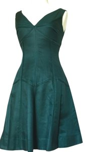 Agga J short dress Pine Green Silk Cotton Slip Fit And Flare on Tradesy