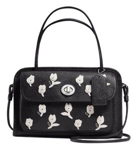 Coach Small Long/short Straps Turnlock Closure Multi Pockets Decorated Satchel in Black/Off-White