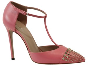 Gucci 370801 Metallic Leather T-bar Pink Pumps