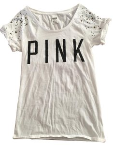 PINK Embellished Sparkly Studded T Shirt White