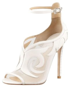 B Brian Atwood Open Toe Off White Boots