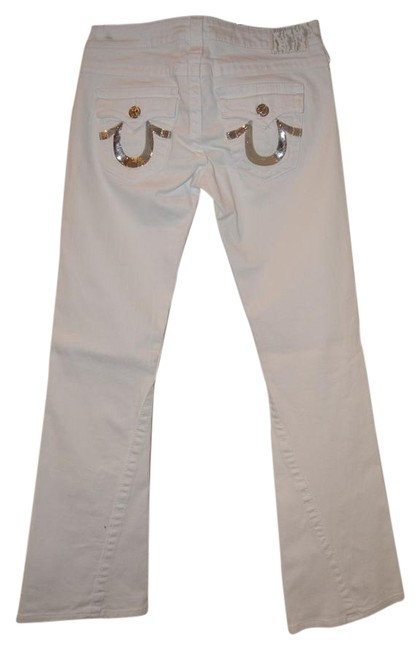 Item - White with Sequin Pockets Light Wash In Silver In Boot Cut Jeans Size 28 (4, S)