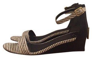 Cole Haan Wedge Dressy Black and White Print Sandals
