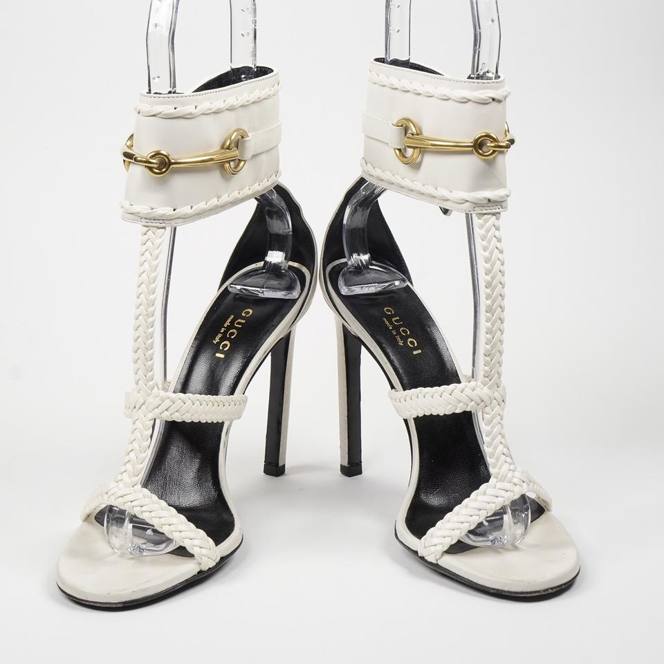 233d5c977 Gucci White Horsebit Ursula 36/6 Braided Caged Leather Ankle Strap Sandals  Size US 6 Regular (M, B) - Tradesy