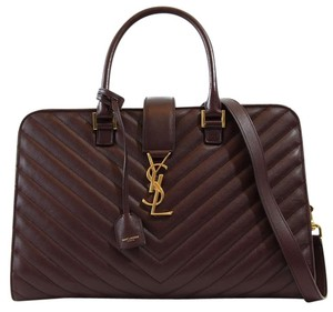 Saint Laurent Ysl Monogram Ysl Handbag Satchel in Burgundy