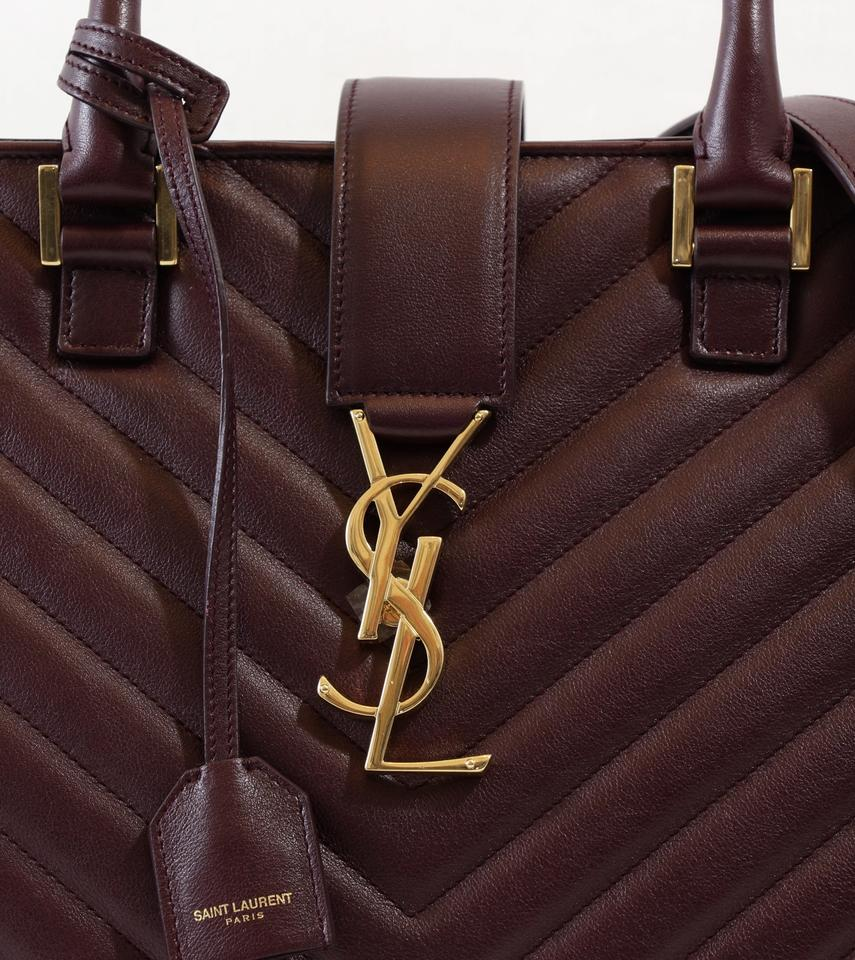 270e9d884755 Saint Laurent Ysl Large Cabas Monogram Burgundy Leather Satchel - Tradesy