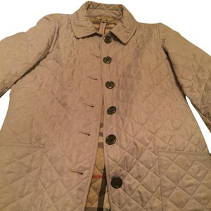 Burberry Quilted Coat Plaid Cream Jacket