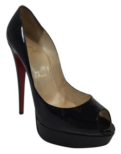 Christian Louboutin Lady Peep Patent Leather Black Platforms