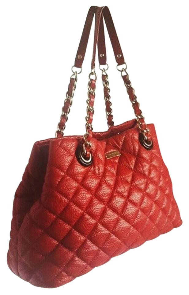 Kate Spade Red Leather Large Gold Coast Maryanne Quilted Shoulder ... : quilted kate spade handbag - Adamdwight.com