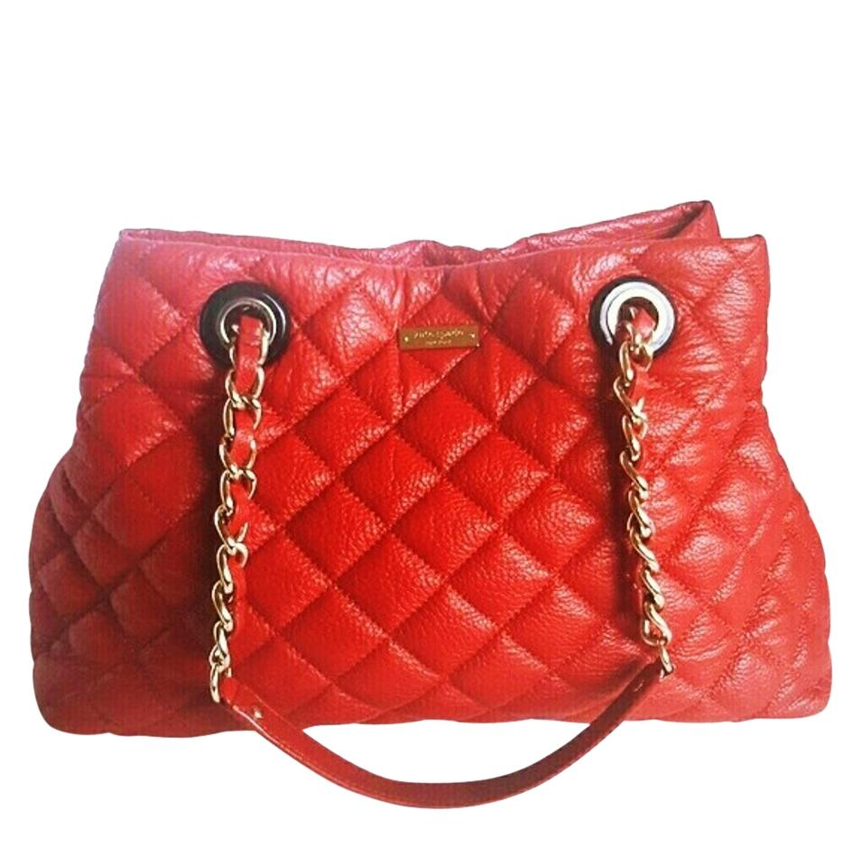 Kate Spade Large Valentines Day Mne Quilted Red Leather Shoulder Bag Tradesy