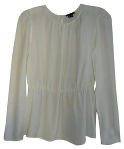 Theory Silk Peplum Button Back Top Ivory