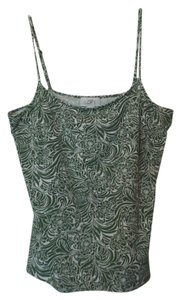Ann Taylor LOFT Xl Knit Adjustable Floral Top Light green and white