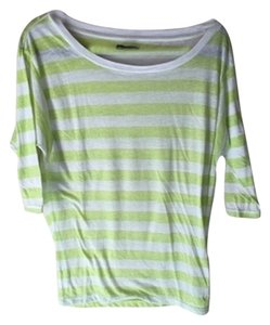 American Eagle Outfitters Striped Soft Dolman T Shirt Green and White