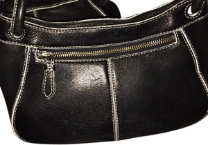 Cole Haan Leather Top Zip Closure Small Short & Long Straps Satchel in Black