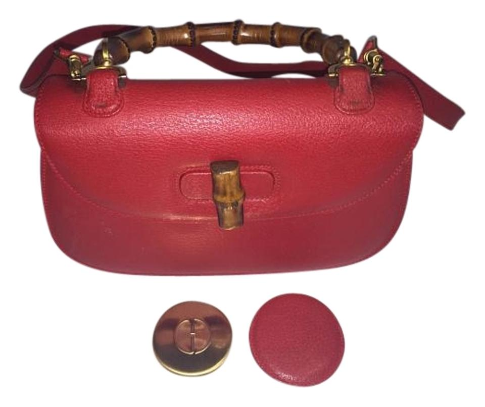 eeeee96d5 Gucci Top Handle Vintage Bamboo Red Leather Cross Body Bag - Tradesy