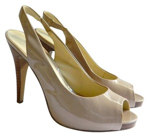 Nine West Slingback Nude Tan Patent Leather Platform beige Pumps