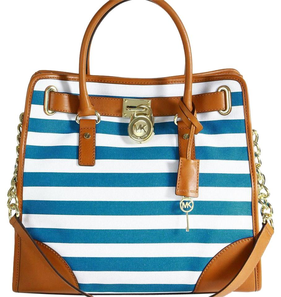 Michael Kors Hamilton Canvas Leather Satchel In Blue And White Stripe