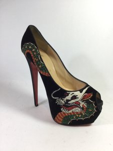Christian Louboutin Velvet Tattoo Ultra High Peep Toe Black Platforms