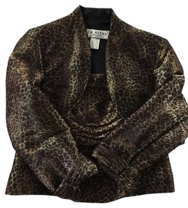 J.R. Nites Bolero Jacket Spaghetti Straps Evening Wear Top Leopard Print