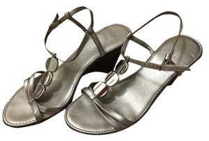 Wedge Sandal Italian Strappy Silver Sandals