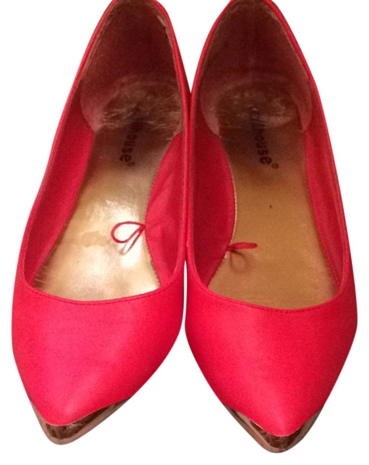 608bf4ed4a Dollhouse Red and Gold Flats Size US 7 Regular (M