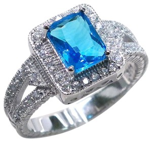 9.2.5 Gorgeous blue and white topaz royal cocktail ring size 9