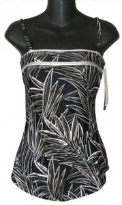 Gottex SWIMSUIT 6 NWT GOTTEX DRAPED CONVERTIBLE MULTI SILVER FOIL $138 SKIRT FRONT