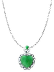 LoveBrightJewelry Apple Green Hue Heart Shape Chrysoprase Pendant Silver