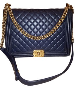 Chanel Boy Gold Navy Lambskin Jumbo Shoulder Bag