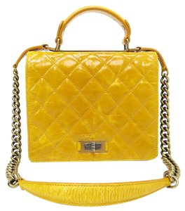Chanel Castle Rock Flap Tote Satchel in lemon