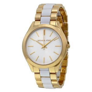 Michael Kors Michael Kors Women's Slim Runway White Acetate Gold-Tone Bracelet Watch MK4295
