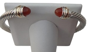 David Yurman 5 mm sterling silver Cable Bracelet with 14k gold ends and Carnelian