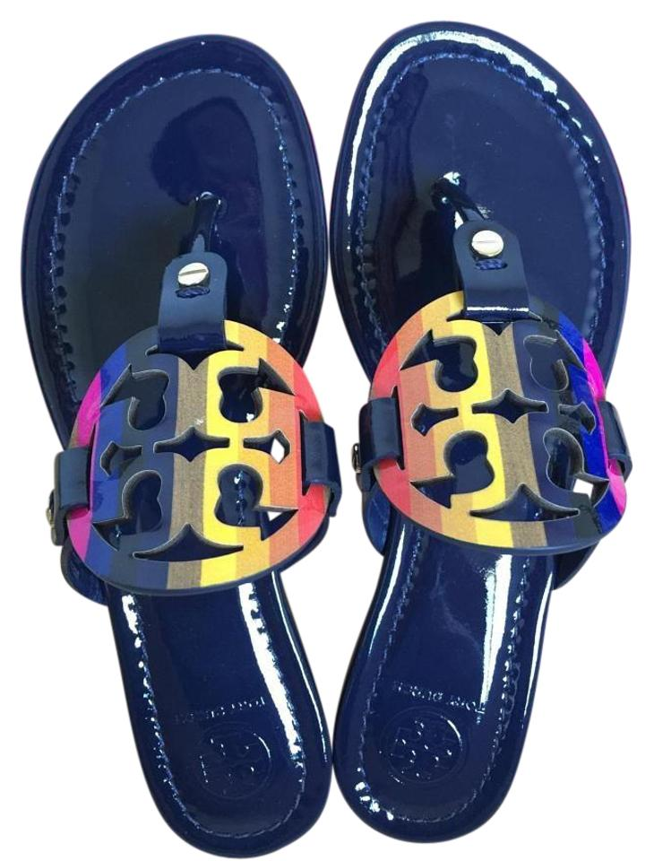 210fb3ceb658 Tory Burch Royal Navy Miller Rainbow Logo 8.5m Sandals Size US 8.5 ...