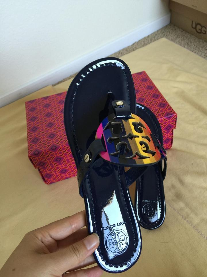 82593bfcb5e4 Tory Burch Royal Navy Miller Rainbow Logo 8.5m Sandals Size US 8.5 Regular  (M