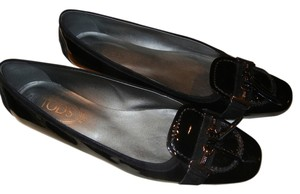 Tod's Patent Suede Loafers Black Flats