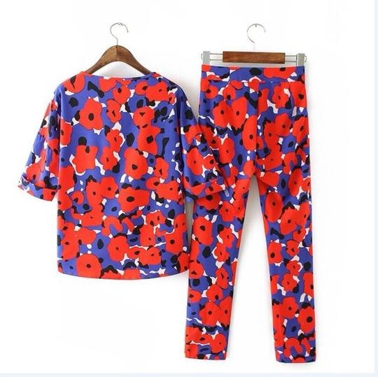 Red Floral Chiffon And Pants Set. Top #17068381 - Blouses 60%OFF