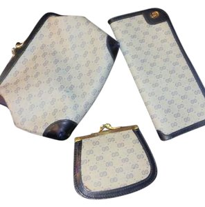 Gucci 3 pc Blue Gucci Monogram Eyeglass Pouch and Kisslock Coin Pouches