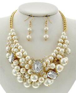 Other Cream Synthetic Pearl Clear Acrylic & Rhinestone Necklace & Earrings