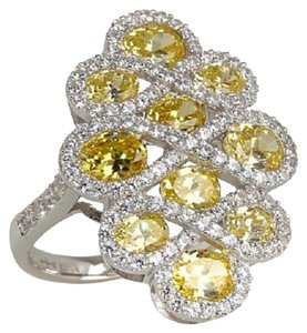 Victoria Wieck Victoria Wieck 3.52ct Absolute Canary Swirl Sterling Silver Ring - Size 8