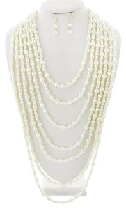 Other Gold Tone Cream Synthetic Pearl Multi Row Necklace & Earrings