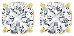LoveBrightJewelry CZ Antique Square 4 Prong 18K Gold Vermeil Earrings