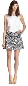Theory Eyelet Mini Print Flirty Mini Skirt Black and White