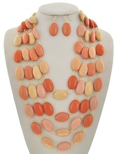 Other Peach Acrylic Multi Row Necklace & Earrings
