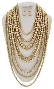 Matte Gold Tone Multi Layer Necklace & Earrings