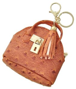 Orange Leatherette Back Design & Tassel Coin Purse & Key Chain