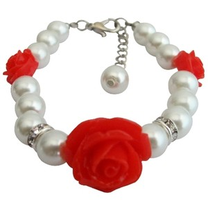 Fashion Jewelry For Everyone Ivory Little Girls Red Rose Flower Christmas Gift Bracelet
